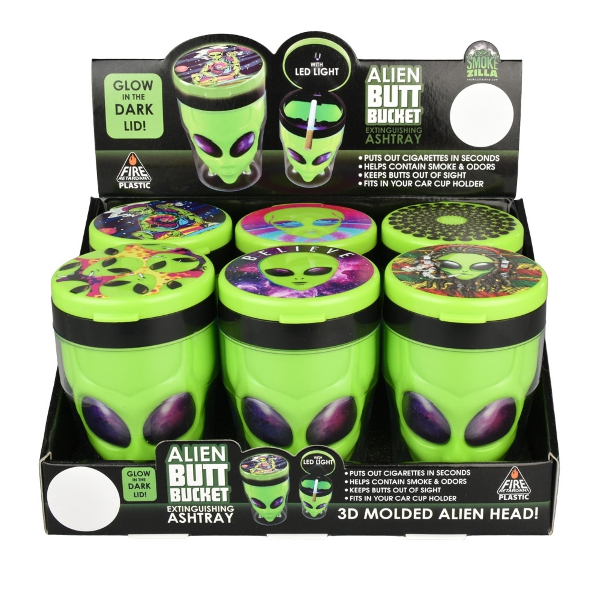"""Alien Butt Bucket LED Ashtray - 3""""   Assorted..."""