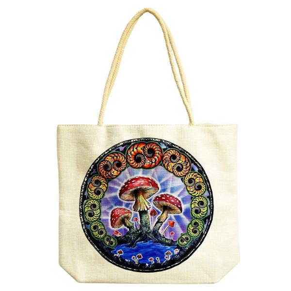 Jute Rope Handled Tote Bag   DuBois Mushrooms   16...