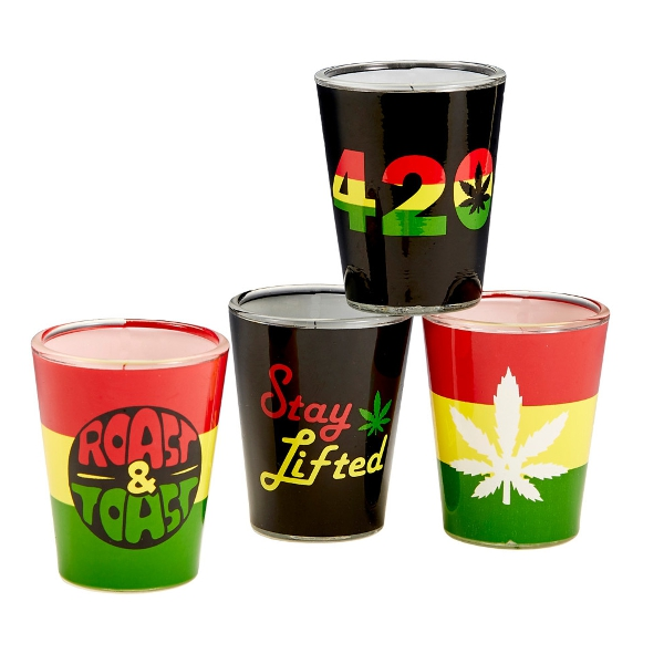Rasta Theme Shot Glasses   Assorted Styles   4pc